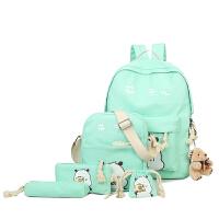 书包女韩版可爱帆布双肩包男女中小学生书包套装初中生背包学院风 绿色