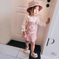 女童春装套装2018新款韩版潮甜美娃娃衫打底衫休闲百搭背带裙套装 粉红色 80/74码 身高约75cm