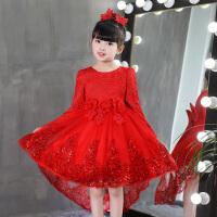 女童秋新款小女孩长袖连衣裙儿童裙子加绒公主裙婚纱礼服蓬蓬裙