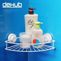 韩国dehub 厨房吸盘 墙角置物架 卫生间置物架 三角收纳架 厨卫储物架 白色