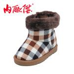 内联升 童鞋 儿童格纹时尚保暖 高帮靴 老北京布鞋5505C
