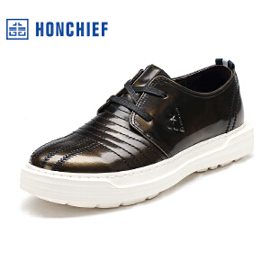HONCHIEF 红蜻蜓旗下 秋季韩版男士休闲板鞋厚底真皮系带休闲皮鞋
