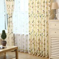 棉麻亚麻布料小清新田园卧室窗帘成品简约现代全遮光窗帘布