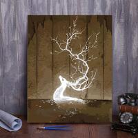 数字油画银光冰鹿风景花卉动物人物装饰字画棉布带框简约现代手绘油彩填色装饰画炫光鹿家装软饰Q