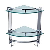 双层三角架不锈钢转角置物架卫生间玻璃角架浴室角架带挂钩毛巾杆