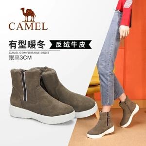 Camel/骆驼女鞋 2018冬季新款 平跟舒适气质潮流休闲耐磨短筒女靴