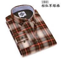 吉普JEEP秋装新款纯棉法兰绒格子长袖衬衫男 大码商务休闲男衬衣