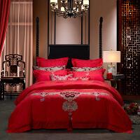 LOVO家纺 提花刺绣六件套 新中式婚庆床单被套 喜结连理