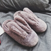 冬季毛毛保暖情侣女卡通加厚底全包跟可爱防滑室内居家月子棉拖鞋
