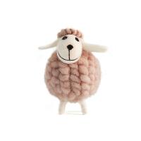 办公室摆件女性 创意家居可爱毛毡工艺小羊儿童房间卧室小摆设 微笑长耳白羊