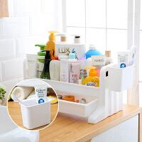 卫生间置物架桌面化妆品收纳架浴室洗漱用品洗手台面抽屉式收纳盒Q 一层乳白色层架带挂篮