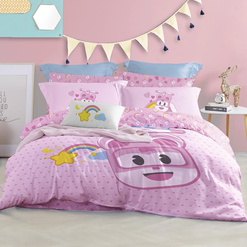 【超级飞侠正版授权】LOVO家纺 三件套儿童卡通全棉纯棉被套床单四件套床上用品超级飞侠套件 彩虹甜心