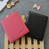 韩版女生钱包情侣钱包一对短款女士真皮钱包学生男士钱夹潮两折皮夹薄