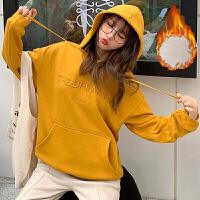 卫衣 女士连帽字母刺绣加绒长袖卫衣2020年冬季新款韩版时尚潮流女式宽松休闲女装套头衫