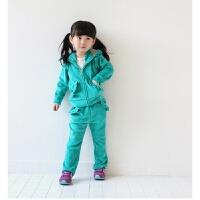 2017秋季新款精品天鹅绒休闲运动童装套装女童小童儿童两件套
