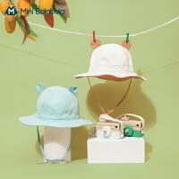 迷你巴拉巴拉儿童渔夫帽萌趣可调节遮阳帽2021春款男女童百搭盆帽