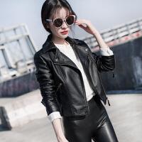 皮衣 女士翻领PU短款机车小皮衣2019年秋季新款韩版时尚潮流女式修身显瘦女装夹克外套