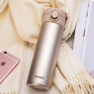 泰福高新款304不锈钢保温杯 茶杯水杯便携男女式车载水壶水杯500ML T2342金色