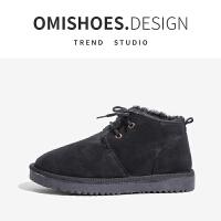 2018冬季新款厚底雪地靴女平底短靴加绒保暖棉鞋加厚学生面包鞋女