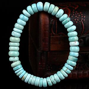 原矿高瓷绿松石算盘珠手串 直径8mm