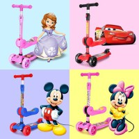 迪士尼儿童三合一滑板车幼儿1-3-6岁2女小孩溜溜滑滑车宝宝可坐男