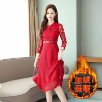 连衣裙 女士圆领加绒加厚蕾丝连衣裙2020年冬季新款韩版时尚潮流女式修身洋气女装打底裙