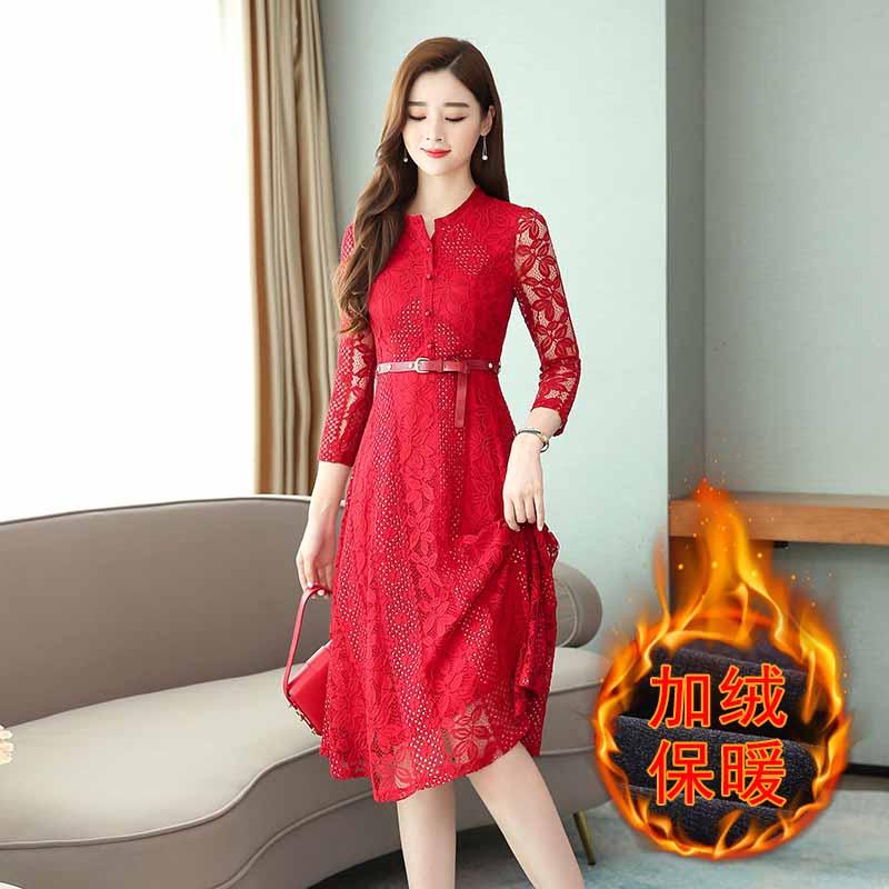 连衣裙 女士圆领加绒加厚蕾丝连衣裙2020年冬季新款韩版时尚潮流女式修身洋气女装打底裙 圆领加绒加厚蕾丝连衣裙