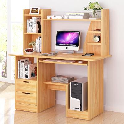 【正月初八后发货】亿家达 组合电脑桌 带书架电脑桌 简约现代书桌书柜 台式电脑桌