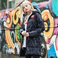 特步羽绒服女冬季长款羽绒服外套连帽加厚保暖中长款女装882428199940