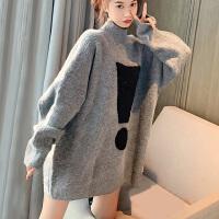 灰色毛衣女套头宽松中长款套头冬季加厚高领针织大款外套