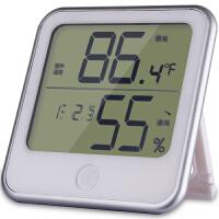 得力8959电子温湿度计 家用室内闹钟湿度计 办公电子温度计