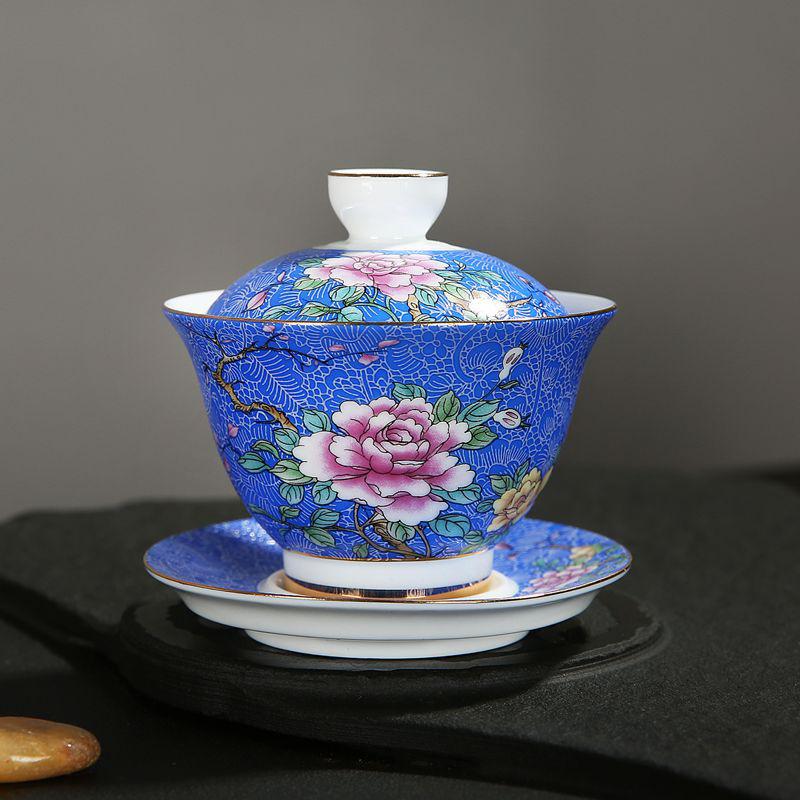 盖碗茶杯单个景德镇家用功夫茶具扒花陶瓷敬茶碗