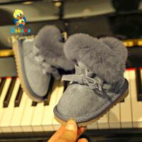 芭芭鸭儿童雪地靴女童雪地棉靴2020冬季新款保暖靴子宝宝短靴加厚