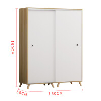 儿童实木衣柜简约现代简易推拉门经济型卧室出租房组装柜 2门组装