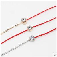 韩版 简约手绳 清新时尚潮手环玫瑰金红绳单钻手链女
