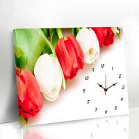 现代简约客厅装饰画无框画挂钟表向日葵墙画餐厅创意遮挡装饰壁画 80*60 25mm厚板