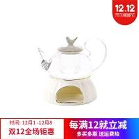 欧式花茶壶煮水果茶壶套装小鸟陶瓷玻璃英式下午茶蜡烛加热花茶具功夫茶具套装家用