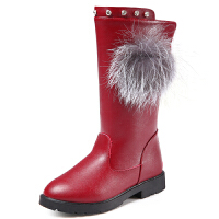 女童高筒靴长靴秋2017新款女童保暖鞋韩版公主皮靴季靴子