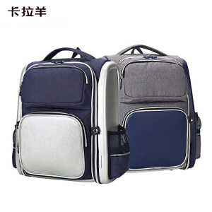 卡拉羊书包小学生男1-3-5年级防水减负护脊英伦风校园儿童双肩背包CX2671