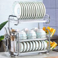不锈钢碗架沥水架晾放碗筷碗碟碗盘用品收纳盒厨房置物架3层厨房置物架收纳晾放碗盘架 升级