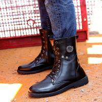 2018春季新款英伦休闲男士马丁靴高筒时尚潮流皮靴高帮男士靴