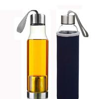 耐热玻璃杯 创意车载玻璃杯子 透明提绳水杯 矿泉水瓶送杯套