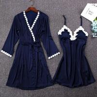 女夏季吊带睡裙睡袍带胸垫两件套装性感绸睡衣冰丝春秋长袖