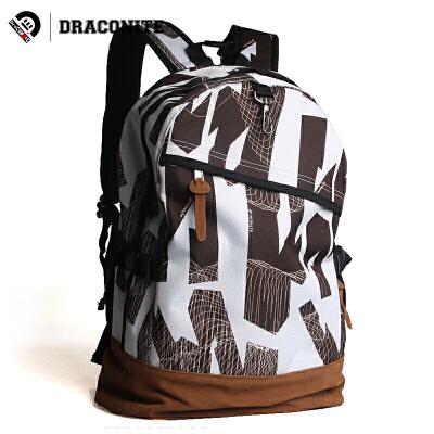 【支持礼品卡支付】DRACONITE涂鸦印花中学生书包休闲双肩包男背包