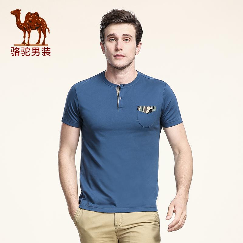 骆驼男装 夏季针织布嵌线贴条青年门筒领圆领日常休闲男士T恤