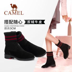 Camel/骆驼2018冬季新款 时尚潮流有型街头舒适中筒套脚低跟女靴