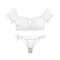 文胸套装一字肩抹胸睡衣唯美透明性感诱惑 米白色 少量现货 均码(文胸+内裤)