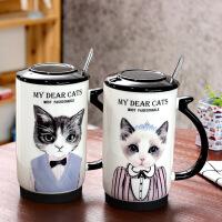 包邮 喵星人陶瓷杯 带盖带勺马克杯 卡通创意咖啡杯 大容量时尚水杯