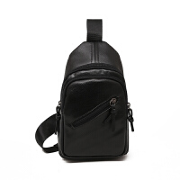 小包包休闲运动旅行胸包男包软皮男士小挎包单肩小斜跨女包 黑色