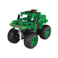 回力积木车拼装车儿童益智积木玩具车男孩越野摩托车模型 绿色 大轮越野